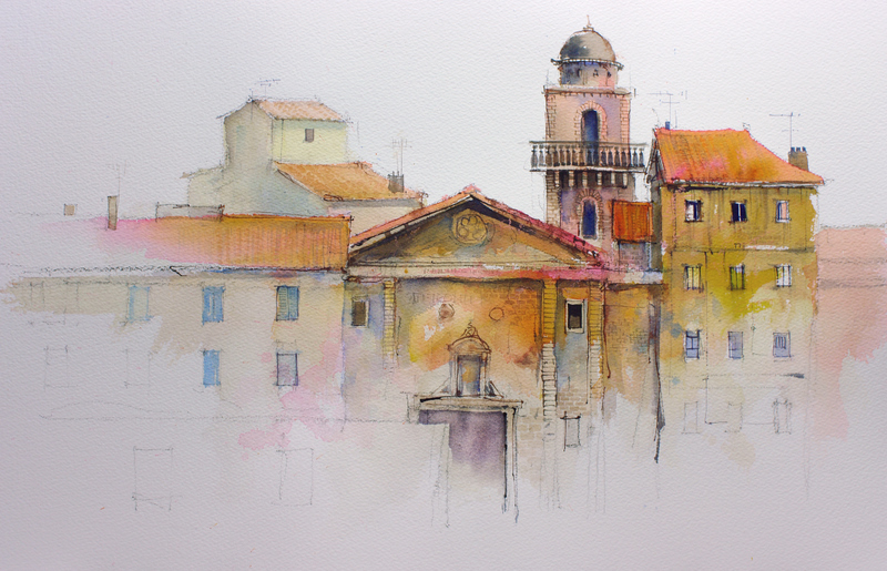 Architectural Paintings Of Streets Of Houses