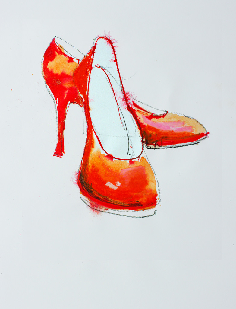 Red Shoes Sketched with a charcoal pencil then colored with a red